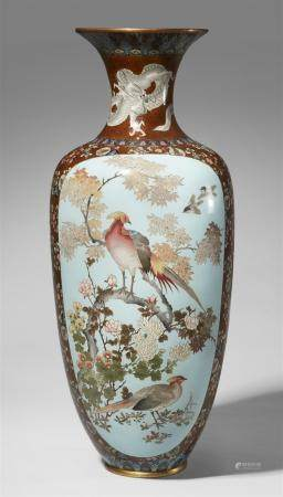 A very large cloisonné enamel vase. Late 19th century