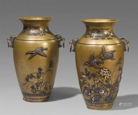 A pair of sentoku vases. Late 19th century