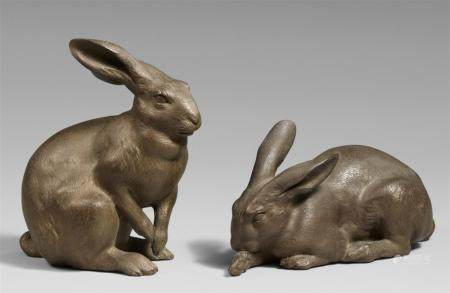 Two hares. Bronze. 2. Hälfte 20th century