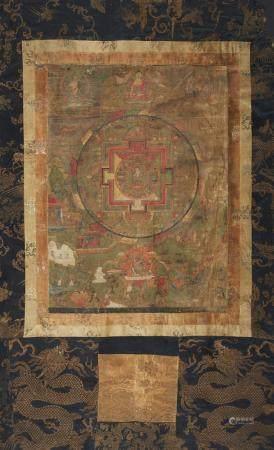 A Tibetan mandala of Amoghapasha-Lokeshvara. 17./18th centur