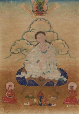 A delicate Eastern Tibetan thangka of Milarepa. 18th/19th ce