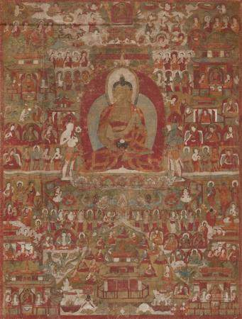 A Tibetan thangka of Amitabha in Sukhavati. 15th century or