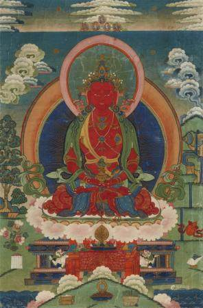 A Tibeto-Chinese thangka of Buddha Amitayus. 19th century
