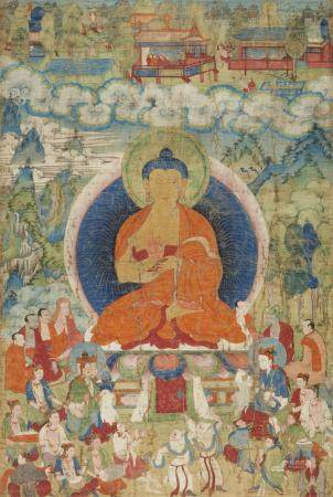 An excellent and large Tibetan thangka of a preaching Buddha