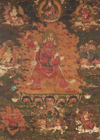 A Tibetochinese thangka of Rakta Yamari. 18th century