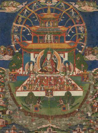 A Tibetan thangka of Padmasambhava in his Copper Mountain Pa
