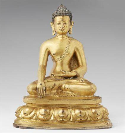 A Tibetan gilt bronze figure of Buddha Shakyamuni. 18th cent