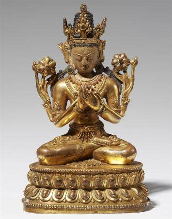 A Tibetan gilt bronze figure of Maitreya. 17th century