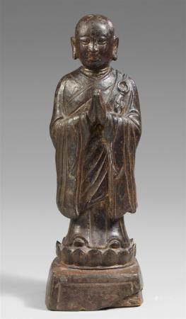 A lacquered bronze figure of luohan Ananda. Ming dynasty
