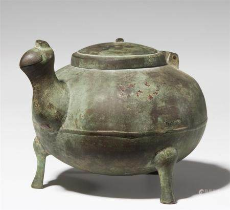 A bronze pouring vessel for wine (jiadou). Bronze. Early Wes