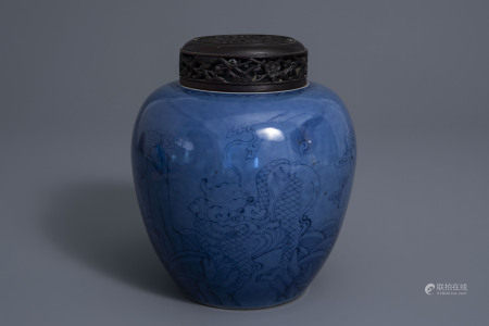 A Chinese blue ground ginger jar with two qilins, 19th/20th C.
