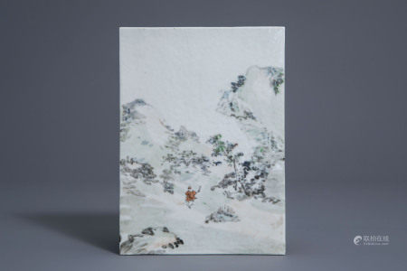 A Chinese qianjiang cai 'mountain view' plaque, 20th C.