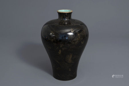 A Chinese black ground meiping vase with a gilt dragon chasing the pearl, Qianlong mark, 19th C.