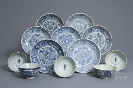 A collection of Chinese blue and white 'Diana Cargo' plates and bowls, early 19th C.