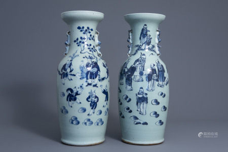 Two Chinese blue and white celadon ground vases with figures, 19th C.