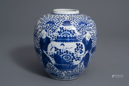 A Chinese blue and white 'boys' jar, Kangxi mark, 19th C.