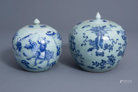 Two Chinese blue and white celadon ground jars and covers, 19th C.