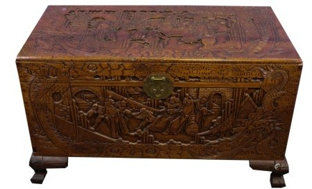 A CHINESE CARVED CAMPHOR WOOD CHEST 20TH C