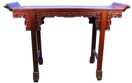 A CHINESE HARDWOOD ALTAR TABLE, 20TH C.