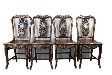GROUP OF FOUR RADEN INLAID CHAIRS, LATE QING