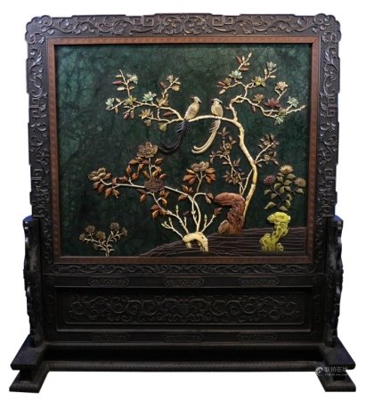 A CHINESE JADE INLAID&LACQUERED FLOOR SCREEN, 20TH