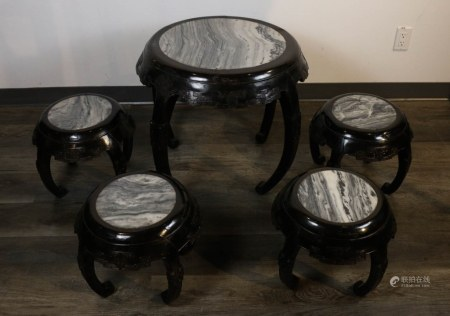 MARBLE INLAID HARDWOOD LOW TABLE AND STOOLS, 19TH