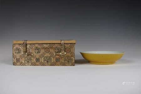 YELLOW GLAZE DISH, QIANLONG MARK, 19TH C. WITH BOX