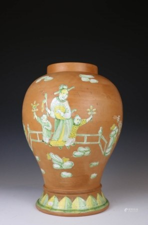 POTTERY FIGURE VASE, LATE QING