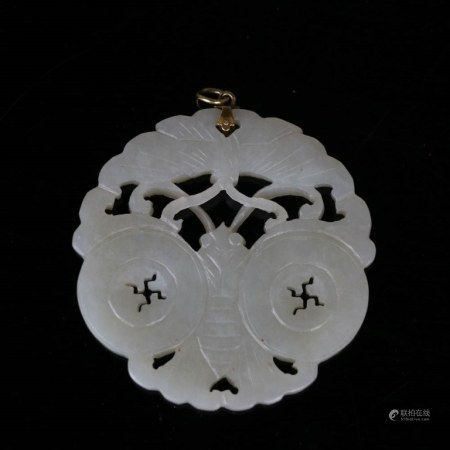 CARVED BUTTERFLY JADE PLAQUE, 19TH C.