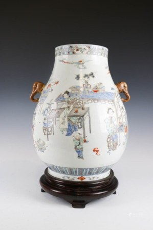 FAMILLE ROSE LADIES AND BOYS VASE. W/STAND HU 19TH