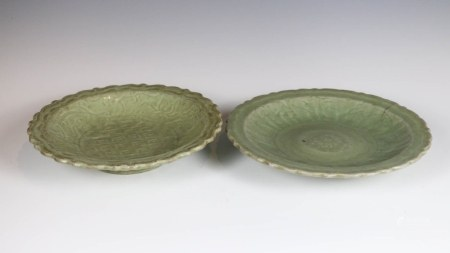 TWO CHINESE LONGQUAN CELADON DISHES,MING (HAIRLINE