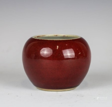 SMALL LANGYAO RED WATER POT, QING