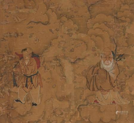 Deux petites peintures à l'encre et coul sur soie encadrée