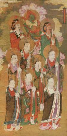 Peinture de la cérémonie du Shuilu à l'encre et coul sur s