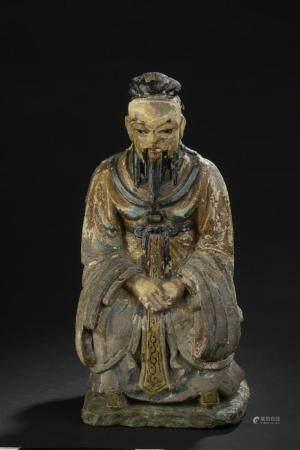 Statuette de dignitaire en terre cuite polychromeChine, XIXe