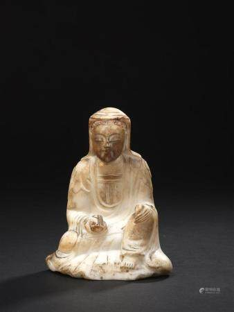Statuette de Guanyin en marbre blancChine, époque Ming, XVIIe