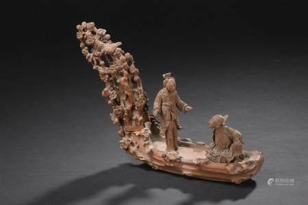 Groupe en bois sculptéChine, début du XXe siècleReprésentant