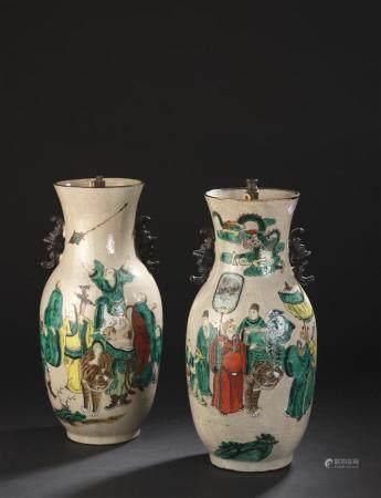 Paire de vases en porcelaine NankinChine, première moitié du