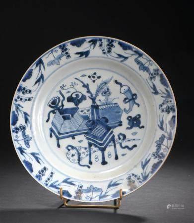 Petit plat en porcelaine bleu blancChine, XVIIIe siècleÀ déco