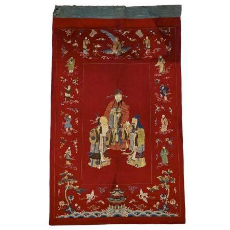A Large Silk Embroidered 'Daoist Immortals' Textile, 19th Century, 清 十九世紀 刺繡祝壽圖, 113 x 65 in — 287 x