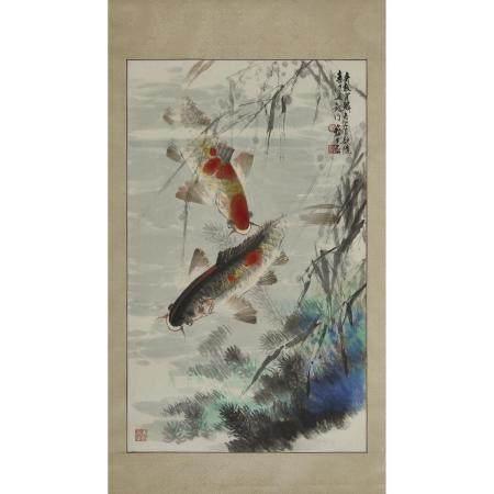Wu Yisheng (1929-2009), 'A Devoted Couple', 伍彛生(1929-2009) 「鶼鰈情深」設色紙本 鏡心, 37.8 x 23.2 in — 96 x 59 c
