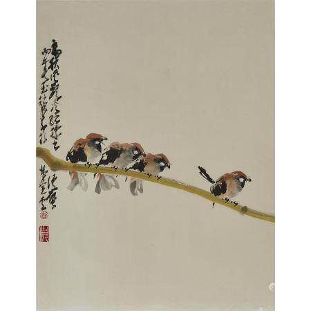 Attributed to Zhao Shao'ang (1905-1998), Four Sparrows, 趙少昂 (1905-1998) 款 四雀圖 設色紙本 鏡心, 27.2 x 20.9 i