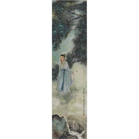 Attributed to Yang Shanshen (1913-2004), Scholar Among Pine Forest, 楊善深 (1913-2004) 款 松林高士圖 設色紙本 鏡片