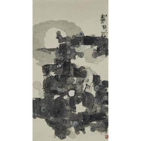Shi Hu (1942-), Nightscape, 石虎(1942-)「戴月圖」設色紙本 鏡框, image 39 x 21 in — 99.1 x 53.3 cm