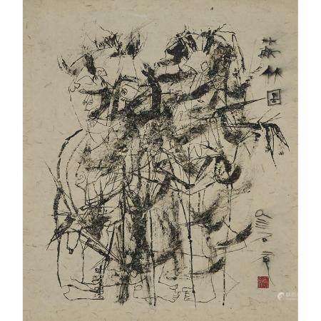 Shi Hu (1942-), In the Bamboo Forest, 石虎(1942-)「蔽竹圖」水墨紙本 鏡框, image 26 x 22.5 in — 66 x 57.2 cm
