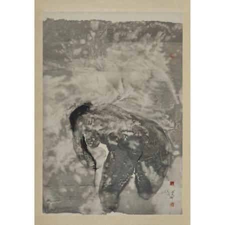 Shi Hu (1942-), Bending Woman, 石虎(1942-)「俯人圖」水墨紙本 鏡心, image 39.2 x 27 in — 99.6 x 68.6 cm