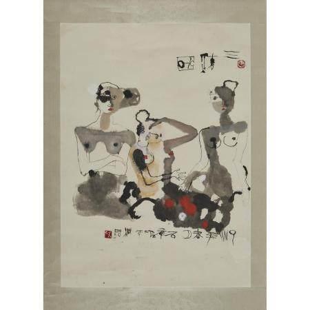 Shi Hu (1942-), Three Women, 石虎(1942-)「三美圖」設色紙本 鏡心, image 40.2 x 29 in — 102.1 x 73.7 cm