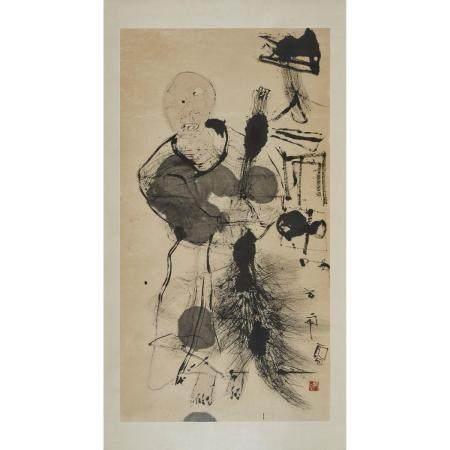 Shi Hu (1942-), Sweeping Monk, 石虎(1942-)「掃地僧」水墨紙本 鏡框, image 49.7 x 26.7 in — 126.2 x 67.8 cm