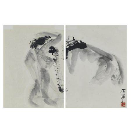 Shi Hu (1942-), Bathing Women, 石虎(1942-)「浴女圖」水墨紙本 鏡框, each image 14.6 x 10.6 in — 37 x 27 cm (2 Piec