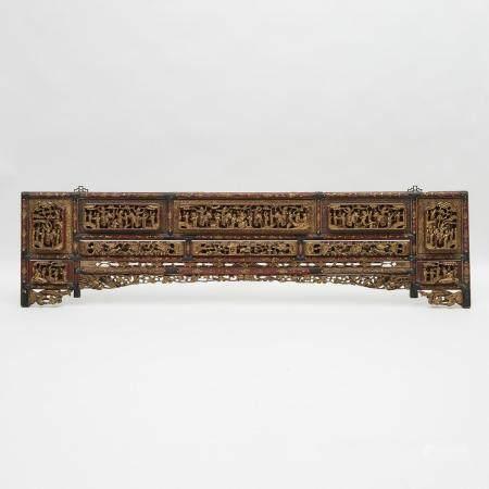 A Large Gilt Lacquered Figural Headboard, 19th Century, 十九世紀 木漆金鏤雕人物故事床頭板, 20.1 x 77.2 in — 51 x 196